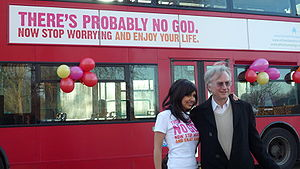 Humanists UK - Ariane Sherine and BHA Vice President Richard Dawkins at the bus campaign launch