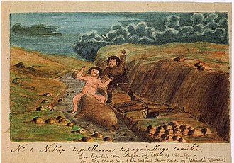 Kangeq - Tupilak, woman and man by Aron of Kangeq.