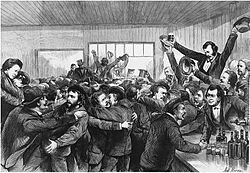 Black and white sketch of people celebrating Virginius prisoner release.