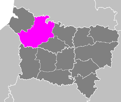 Location of Amiens in Picardy