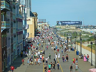 Atlantic City Boardwalk view from Caesars Atlantic City. Opened in 1870, it was the first boardwalk built in the United States. At 5.5 miles long, it is also the longest in the world. Atlantic City Boardwalk view north from Caesars Atlantic City by Silveira Neto June 24 2012.jpg