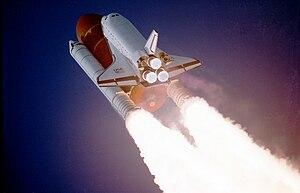 STS-27 - Atlantis climbs toward orbit.