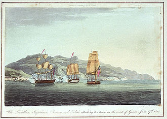 HMS Leviathan (1790) - Attack on convoy of eighteen French merchant ships at Laigrelia, 1812