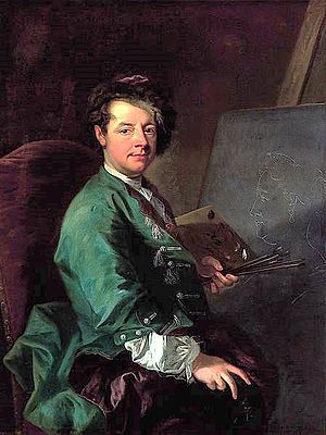 Johann Gottfried Auerbach - Johann Gottfried Auerbach, Self Portrait Before the Easel with the Profile Portrait of the Empress Elisabeth Christine.