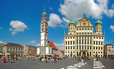 Augsburg Town Hall and Perlachturm (left) Augsburg - Markt.jpg