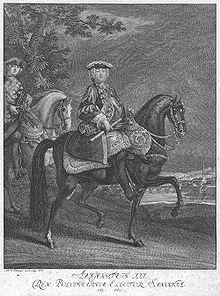 August III. von Polen zu Pferde, Stich nach Johann Elias Ridinger (Quelle: Wikimedia)