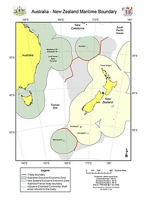 Australia–New Zealand Maritime Treaty - Image: Australia New Zeland Maritime Boundary