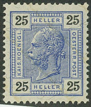 Postage stamps and postal history of Austria - The varnish bars appear faintly on this 1904 issue