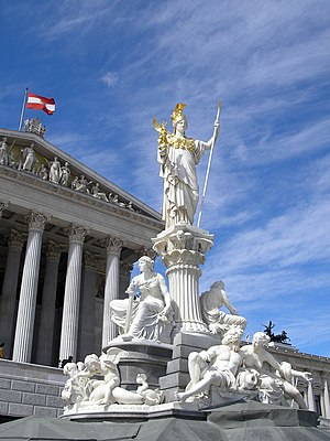 The statue of Athena in front of the Austrian ...