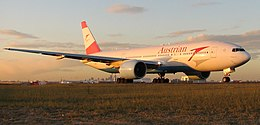 Austrian Airlines B777-2Z9ER (OE-LPA) taxiing at Sydney Airport.jpg
