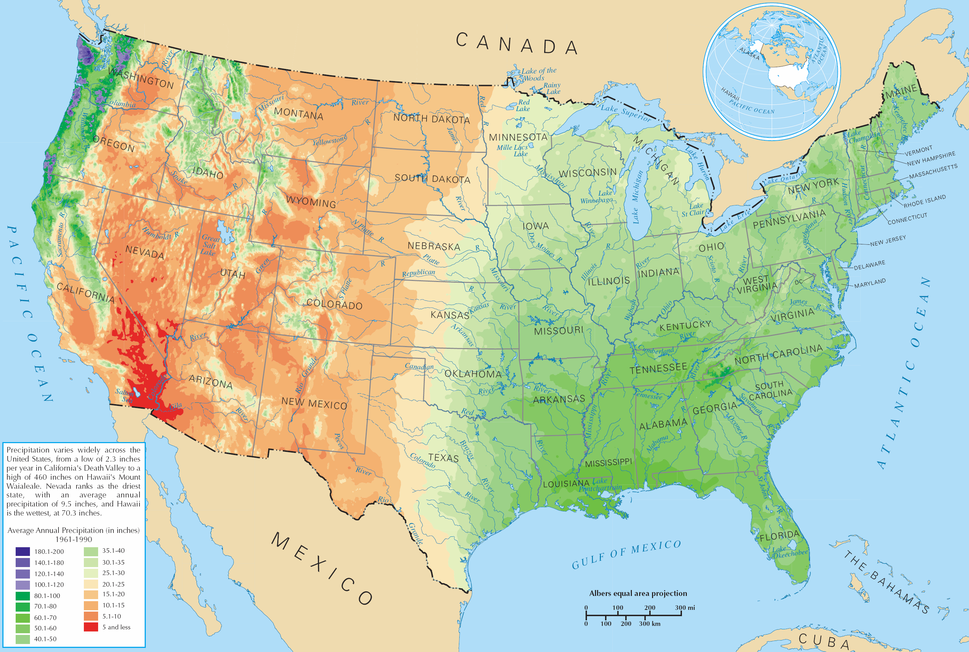 Average precipitation in the lower 48 states of the USA
