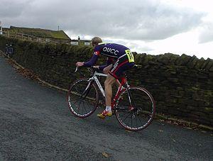 Hillclimbing (cycling) - Oxford University Cycling Club rider Danny Axford on his way to a 4th BUSA Hillclimb victory