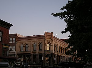 History of Bellingham, Washington - 1890 bank building in the Fairhaven District at dusk (2008).