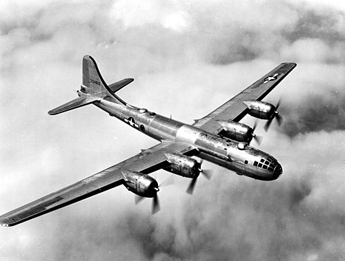 The B-29 was the long range U.S. strategic bomber used to carpet bomb Japan. It was the largest aircraft to have a significant operational role in the war, and remains the only aircraft in history to have ever used a nuclear weapon in combat. B-29 in flight.jpg