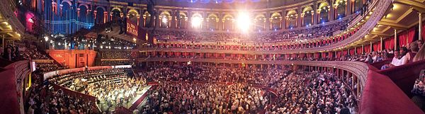 A panorama of the 2015 season of the Proms, with the seats behind the orchestra half-and-half with choral members and audience. BBC Proms 2015 Panorama inside (1).jpg