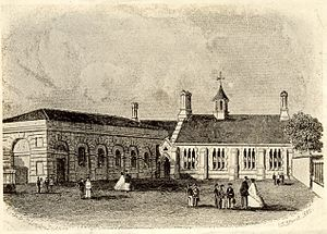 Bury Grammar School - The original school building in The Wylde