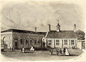 Bury Grammar School - The original school building in The Wylde