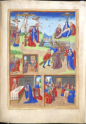 Life of the Virgin - Crucifixion, Descent from the Cross, Lamentation of Christ, Betrayal of Christ, Pilate washing his hands, Christ bearing the Cross, Presentation of Christ in the Temple, Finding in the Temple, from a 15th-century Book of Hours