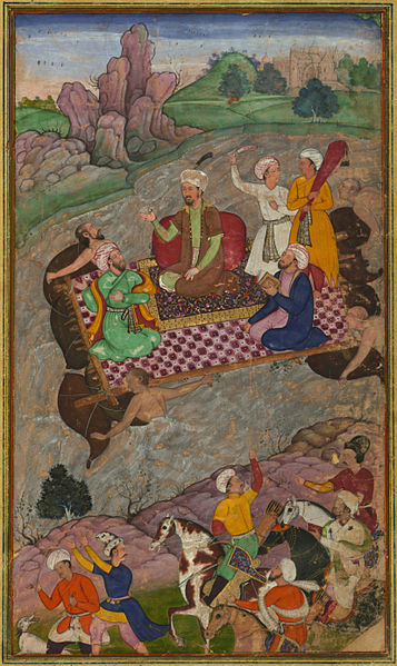 File:Babur, during his second Hindustan campaign, riding a raft from Kunar back to Atar.jpg