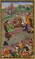Babur, during his second Hindustan campaign, riding a raft from Kunar back to Atar.jpg