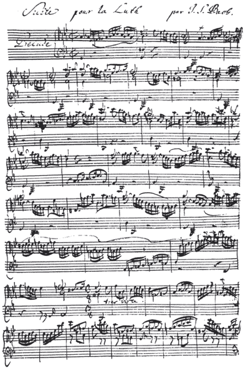 Hand-written musical notation by J. S. Bach (1685-1750). This is the beginning of the Prelude from the Suite for Lute in G minor, BWV 995 (transcription of Cello Suite No. 5, BWV 1011). Bachlut1.png