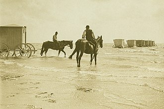 Wyk auf Föhr - Bathing carts in Wyk around 1895.
