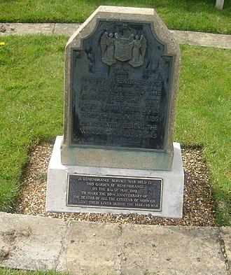 Norwich Blitz - A photo of the Baedeker Blitz civilian memorial in Earlham Road Cemetery, Norwich