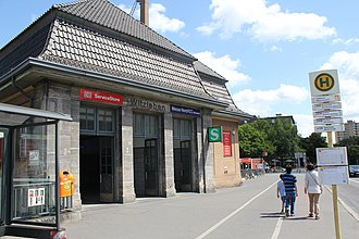 Berlin Messe Nord/ICC station - Station building on Neue Kantstraße
