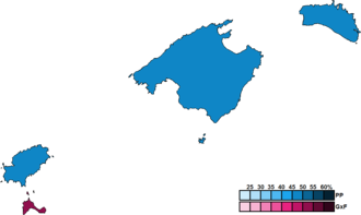 Balearic regional election, 2011 - Image: Balearic Islands District Map Parliament 2011