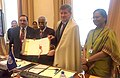 Bandaru Dattatreya handing over the Instruments of Ratification of core ILO Conventions No. on 138 and 182 on Child Labour to the DG, ILO, Mr. Guy Ryder, at the International Labour Conference-2017, in Geneva.jpg