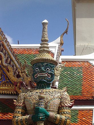 Yaksha - Face of the yakṣa Thotsakhirithon (ทศคีรีธร) at Wat Phra Kaew, Bangkok