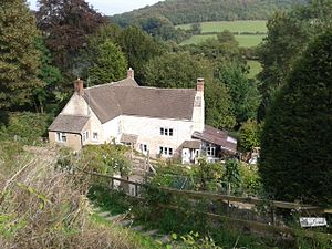 Laurie Lee - Laurie Lee's childhood home, Bank Cottages (now Rosebank Cottage), in the village of Slad.