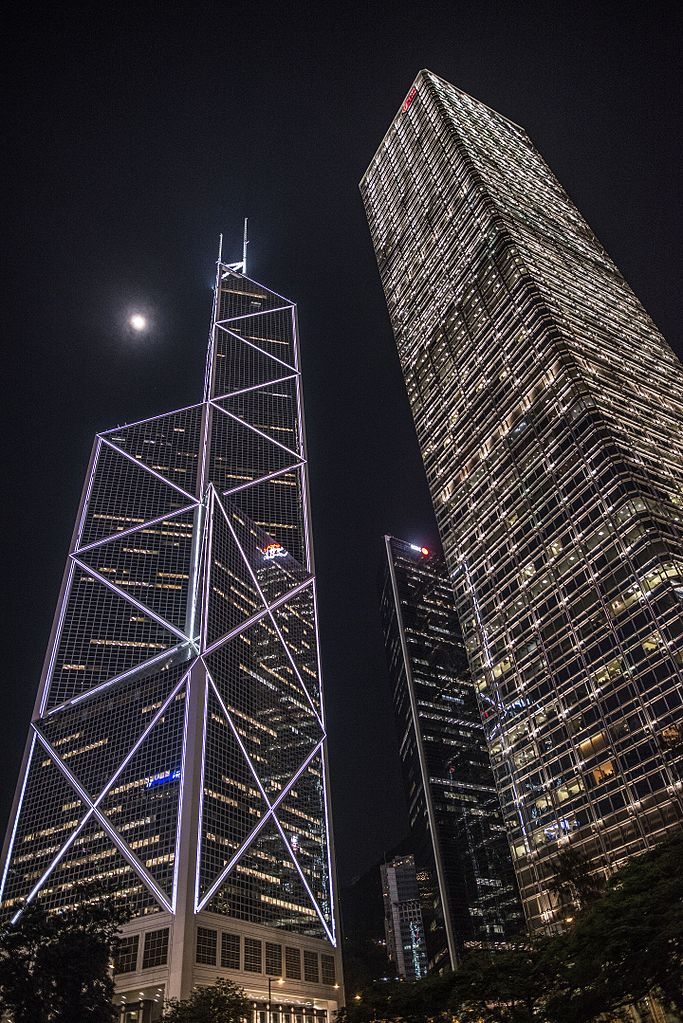 filebank of china tower and cheung kong center in hong