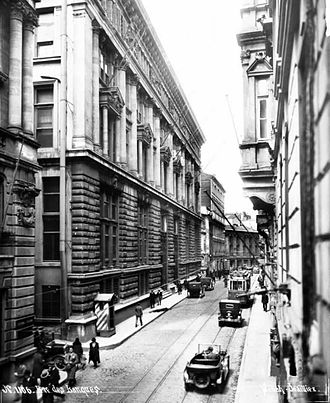 A view of Bankalar Caddesi (Banks Street) in the early years of the Turkish Republic. Completed in 1892, the Ottoman Central Bank headquarters is seen at left. In 1995 the Istanbul Stock Exchange moved to Istinye, while numerous Turkish banks moved their headquarters to Levent and Maslak. Bankalar Caddesi in the 1920's.jpg