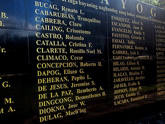 Cordillera Administrative Region - Detail of the Wall of Remembrance at the Bantayog ng mga Bayani in Quezon City, showing names from the first batch of Bantayog Honorees, inluding that of Macli-ing Dulag.