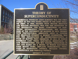 John Bardeen - A commemorative plaque remembering John Bardeen and the theory of superconductivity, at the University of Illinois at Urbana–Champaign