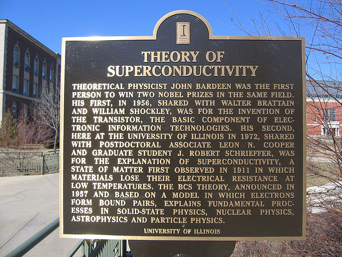 A commemorative plaque remembering John Bardeen and the theory of superconductivity, at the University of Illinois at Urbana-Champaign Bardeen plaque uiuc.jpg