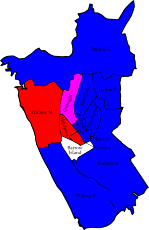 Barrow-in-Furness Borough Council elections - Image: Barrow 2006 election map