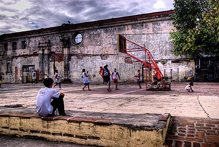 Children playing basketball at the ruins of San Ignacio Church in Intramuros Basketball in Intramuros.jpg