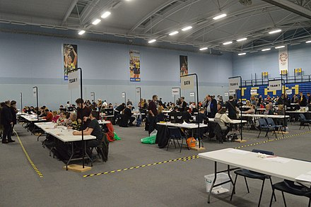 The count for the Bath 2019 general election, carried out in a sports hall which is a common count location Bath 2019 general election count.jpg
