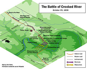 1838 Mormon War - Click the image for an enlarged map illustrating the Battle of Crooked River.