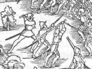Zweihänder - 1548 depiction of a Zweihänder used against pikes in the Battle of Kappel