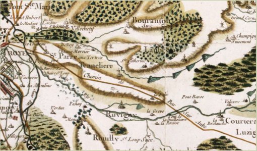 Cassini map shows the city of Troyes at the left, the village of Laubressel on a wooded height at right center and the Pont de la Guillotiere where the road crosses the Barce River. Battle of Laubressel Cassini Map2.png