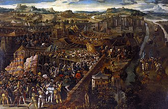 Italian War of 1521–26 - Image: Battle of Pavia, oil on panel