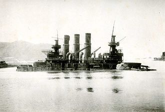 Pre-dreadnought battleship - Retvizan sinks in Port Arthur, 1904
