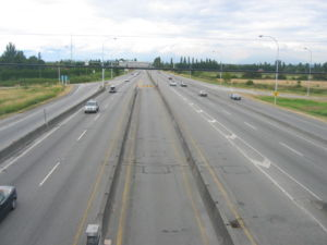 British Columbia Highway 99 - Highway 99, looking north (towards Vancouver) from the Steveston Highway overpass, just north of the George Massey Tunnel