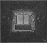 Woodcut? of a deep, shadowy room with light only near the window at the far end