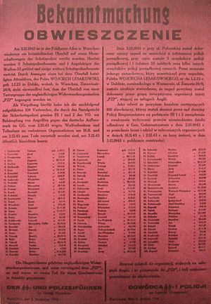 Collective punishment - Announcement of execution of 100 Polish roundup hostages,  as revenge for the assassination of 5 German policemen and 1 SS member by Armia Krajowa resistance fighters in Nazi-occupied Poland. Warsaw, 2 October 1943