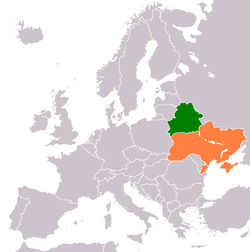 Map indicating locations of Belarus and Ukraine