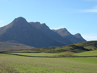 Ben Loyal - Ben Loyal from the north. An Caisteal is the jagged peak second from the left.
